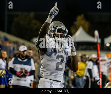 Tulsa, OK, USA. 26th Oct, 2019. Memphis Corner Back TJ CARTER (2) reacts after a pass deflection during the Tulsa vs Memphis game on Oct 26th, 2019 at H.A Chapman Stadium in Tulsa, OK. Credit: Shane Cossey/ZUMA Wire/Alamy Live News - Stock Photo