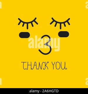 thank you card with kiss, yellow vector emoticon - Stock Photo