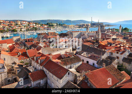 Panoramic view of the downtown and port of Trogir town, Croatia - Stock Photo