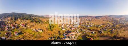 Beautiful 180 degrees scenic landscape of popular healing spa resort in Carpathians, Skhidnytsia urban-type settlement, Ukraine. Balneological resort - Stock Photo