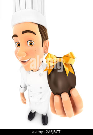 3d head chef holding easter egg, illustration with isolated white background - Stock Photo