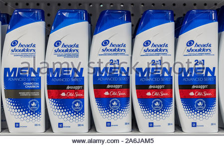 Toronto, Ontario, Canada-October 9, 2019: Head & Shoulders bottles for sale in a retail store. Illustrative editoral of Head & Shoulders which is an A - Stock Photo