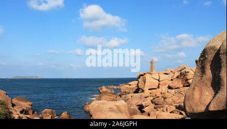 Ploumanach village landscape in Perros Guirec on Pink Granite Coast, Brittany, France - Stock Photo