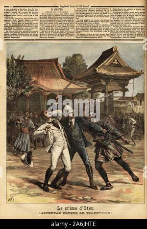 'Le crime d'Otsu': le tsarevitch  Nicolas Alexandrovitch Romanov (1868-1918, futur tsar Nicolas II) lors d'un voyage autour du monde en 1891, est vict - Stock Photo