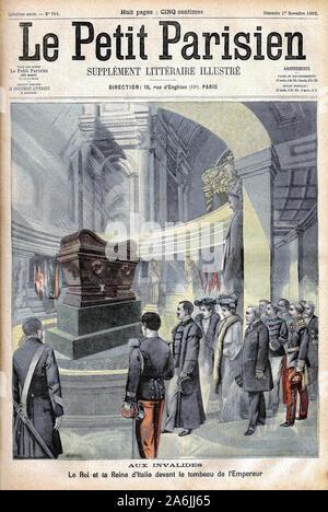 Victor Emmanuel III d'Italie (Victor-Emmanuel) (Vittorio Emanuele) et la reine Helene du Montenegro devant le tombeau de Napoleon 1er aux Invalides, a - Stock Photo