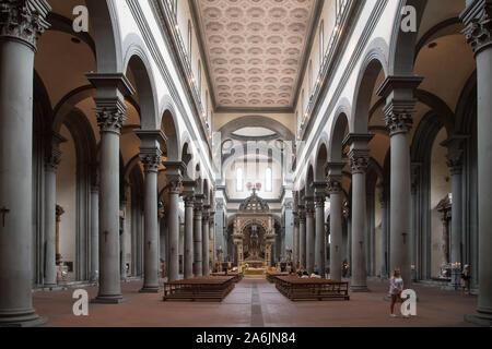 Renaissance Basilica di Santo Spirito (Basilica of the Holy Spirit) built in XV designed by Filippo Brunelleschi in Historic Centre of Florence listed
