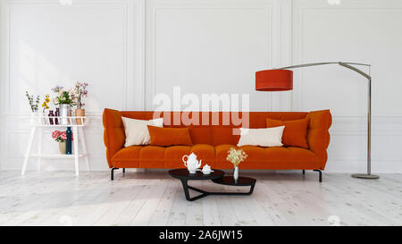Modern interior design of a living room indoors apartment, home, office, bright orange sofa, fresh flowers and modern interior details on a white wall - Stock Photo