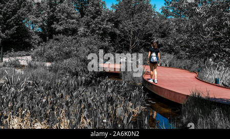 Teen in shorts and sneakers standing on red wooden walkeway in garden - Stock Photo