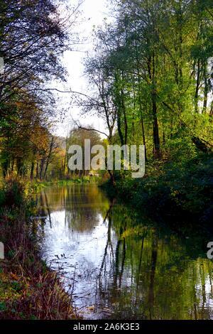 Autumn sunny day,Cromford Canal,Derbyshire,Peak District,England,UK - Stock Photo