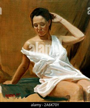 Figura femenina  obra del pintor valenciano Alejandro Cabeza - Stock Photo