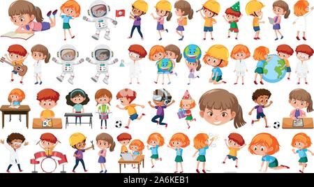Set of boys and girls in different actions illustration - Stock Photo