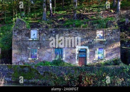 Old stone cottage,Cromford Canal.Peak district,Derbyshire,England,UK - Stock Photo
