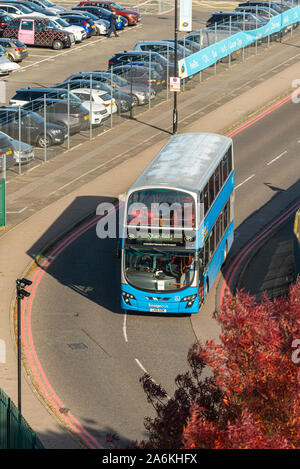 Greater Anglia rail replacement bus service at London Southend Airport, Essex, UK, heading to Shenfield. Ensignbus Volvo B5LH double-decker bus - Stock Photo