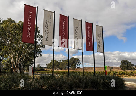 Jacobs Creek winery and visitor's centre in the  Barossa Valley  wine growing region near Adelaide, Australia.  There are about 150 wineries in the Ba - Stock Photo