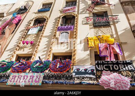 Barcelona Spain Catalonia Catalunya Gracia neighborhood Festa Major de Gracia street festival fair Cercle Catolic Teatre theater theatre building exte - Stock Photo