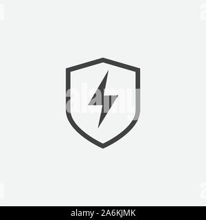 Creative electric shield logo design template, Modern vector symbol of electric power protection, bolt sign with shield, Electric Power Shield, Modern Shield Symbol Logo Design - Stock Photo