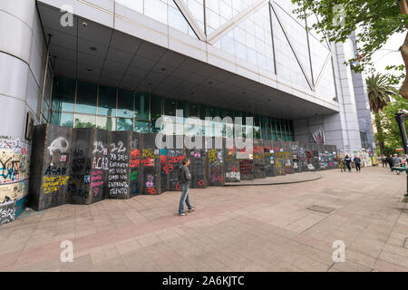 'Santiago de Chile Chile 26/10/2019 The protest signs. Walls painted with graffiti the day after 25th Chile biggest protest at Santiago, Chile - Stock Photo