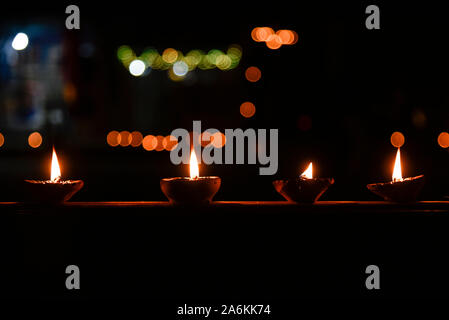 Assam, India. October 27, 2019. People light Diyas (earthern lamps) on the occasion of Diwali festival in Guwahati on Sunday. Photo: David Talukdar/ Alamy Live News - Stock Photo