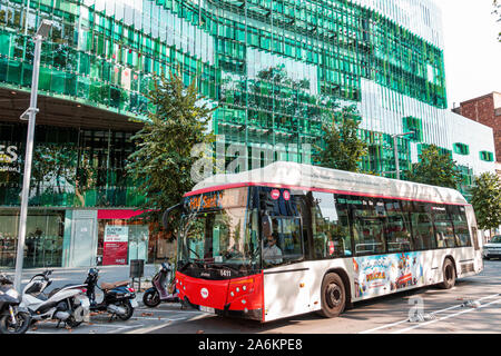 Barcelona Spain Catalonia Catalunya Poblenou Carrer de Pere IV Edificio Juan Gasso Bosch building exterior green glass curtain wall Metropolitans de B - Stock Photo