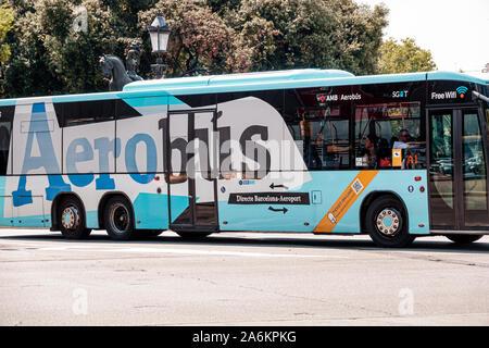 Barcelona Spain Catalonia Catalunya Aerobus airport bus service express shuttle public transportation Spanish Europe EU Eurozone - Stock Photo