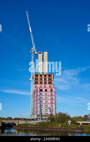 The new Hale Wharf apartments under construction at Tottenham Lock on the River Lea, North London UK - Stock Photo