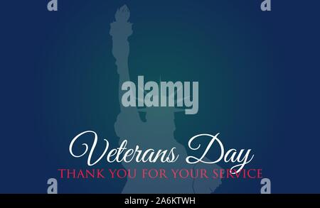 Veterans Day celebration illustration. Liberty statue on HD background banner. Remember and honor. - Stock Photo
