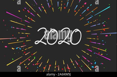 Happy 2020 new year fireworks banner on black background for your seasonal holiday flyers, Christmas themed congratulations and cards.  - Stock Photo