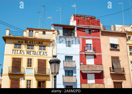Valencia Spain Ciutat Vella old city historic center Plaza del Dr. Doctor Collado square buildings apartments residences balconies facades lamppost Sp