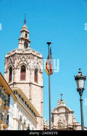 Valencia Spain Hispanic,Ciutat Vella,old city,historic center,Plaza Placa de la Reina,main square,Torre del Micalet,Miguelete,Gothic-style octagonal b