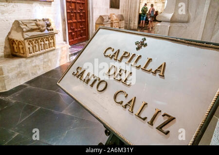 Valencia Spain Ciutat Vella old city historic center Plaza Placa de la Reina Metropolitan Cathedral Basilica of the Assumption of Our Lady of Valencia Catholic church Chapel of the Holy Chalice sign Spanish Europe EU Eurozone - Stock Photo