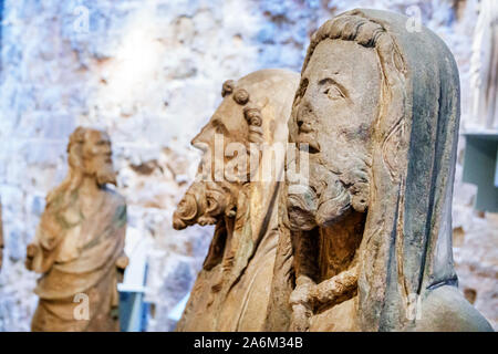 Spain Valencia Ciutat Vella old city historic center Plaza Placa de la Reina Metropolitan Cathedral Basilica of the Assumption of Our Lady of Valencia Diocesan Cathedral Museum religious statues sculpture Gothic exhibit Spanish Europe EU Eurozone - Stock Photo