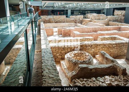 Valencia Spain Ciutat Vella old city historic center Museo de L'Almoina museum. archaeological site inside subterranean exhibit Roman city ruins therm
