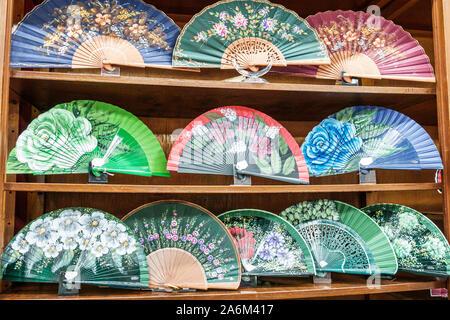 Valencia Spain Hispanic,Ciutat Vella,old city,historic center,Plaza de la Reina,store,souvenirs,artisanal gifts,hand fans,painted,display sale shelves