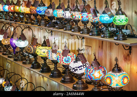 Valencia Spain Ciutat Vella old city historic center store shopping lamps colorful display sale shelves Spanish Europe EU Eurozone - Stock Photo