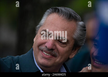 "Buenos Aires, Argentina. 27th Oct, 2019. Presidential candidate for the ""Front of All"" party, Alberto Fernandez takes his dog Dylan duringorning walk before going to the presidentialtial elections in Buenos Aires, Argentina, Sunday, October 27, 2019. Credit: Mario De Fina/FotoArena/Alamy Live News - Stock Photo"