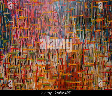 'flowers and yellow stripes', 2019,abstract painting from Jan Fritz, Holland - Stock Photo