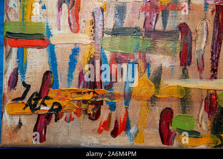 detail with signature from 'flowers and yellow stripes', 2019,abstract painting from Jan Fritz, Holland - Stock Photo
