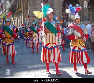 Players wearing traditional costumes, taking part in a parade for the Calcio Storico football tournament in Florence, Italy, June 2011. - Stock Photo