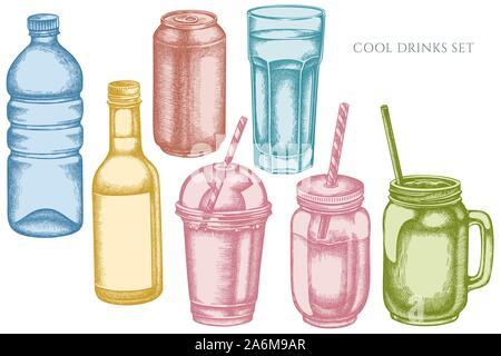 Vector set of hand drawn pastel glass, plastic bottle, bottle of lemonade, smoothie cup, aluminum can, smothie jars stock illustration - Stock Photo
