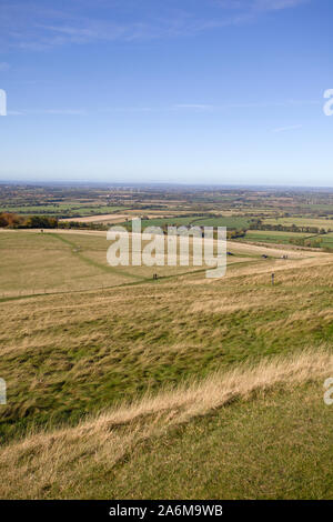 Views from White Horse Hill, Uffington looking towards Oxfordshire countryside, England - Stock Photo