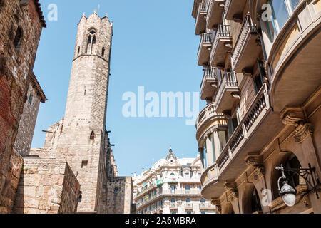 Spain Barcelona Catalonia Catalunya Ciutat Vella historic center Chapel of Santa Agata Royal Chapel octagonal bell tower Gothic architecture 1302 buil