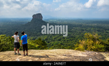 Sigiriya rock, view from Pidurangala Rock. Sri Lanka. - Stock Photo