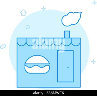 Bistro, burger shop, fast food stall vector icon. Flat illustration. Filled line style. Blue monochrome design. Editable stroke. Adjust line weight. - Stock Photo