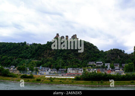 View of Schonburg Castle in Oberwesel, Germany along the Rhine River - Stock Photo