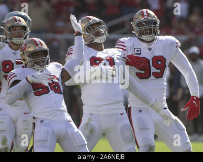 Santa Clara, USA. 27th Oct, 2019. San Francisco 49ers defense celebrates stopping the Carolina Panthers in the first half at Levi's Stadium in Santa Clara, California on Sunday, October 27, 2019. The 49ers beat the Carolina Panthers 51-13. Photo by Terry Schmitt/UPI Credit: UPI/Alamy Live News - Stock Photo