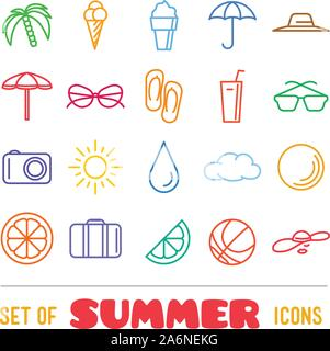 Vacation themed icons with thin lines - Stock Photo