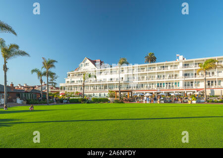 San Diego, California/USA -August 13, 2019  National historic landmark Hotel del Coronado in the Coronado Island, San Dego. - Stock Photo