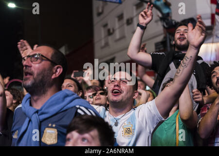 City Of Buenos Aires, City of Buenos Aires, Argentina. 27th Oct, 2019. INT. WorldNews. October 27, 2019. City of Buenos Aires, Argentina.- Supporters of the Frente de Todos party celebrate winning outside the bunker in city of Buenos Aires, Argentina, on October 27, 2019. Alberto Fernandez will be the next President of Argentina. Credit: Julieta Ferrario/ZUMA Wire/Alamy Live News - Stock Photo