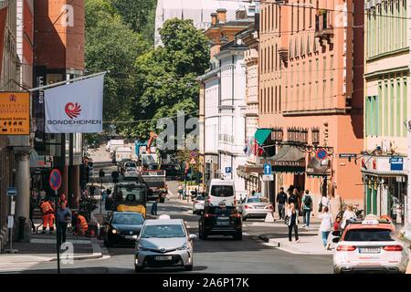 Oslo, Norway - June 24, 2019: Traffic On Kristian IVs gate Street In Oslo. - Stock Photo
