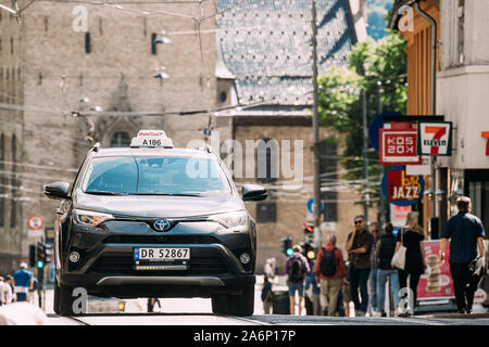 Oslo, Norway - June 24, 2019: Taxi Car Toyota In The Grensen Street. - Stock Photo